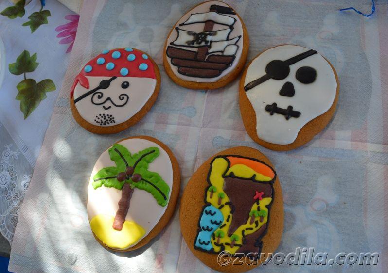 пиратская вечеринка, тематическое печенье