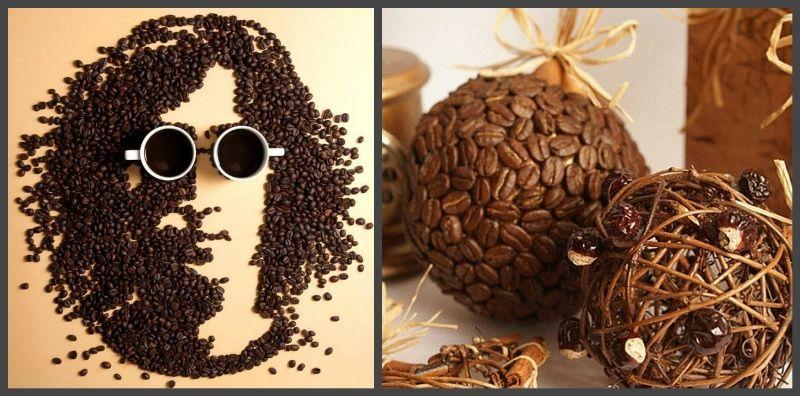 оформление, картина из кофейных зерен