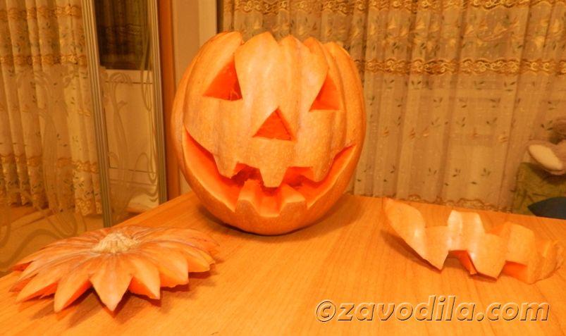 фото как вырезать тыкву на Хэллоуин (Джек Фонарь)