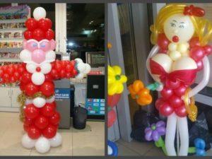 снегурочка, дед мороз, девушка из воздушных шаров
