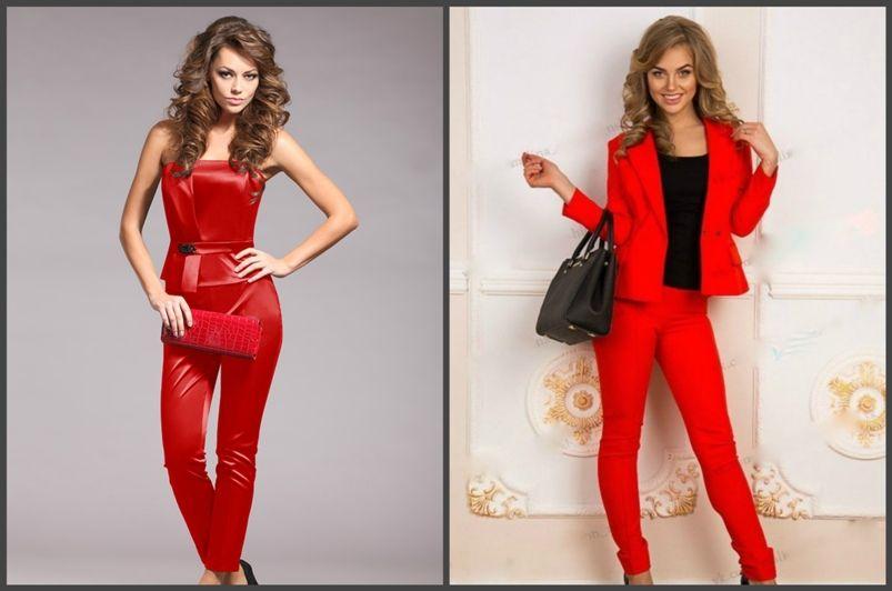 женские брючные костюмы красные