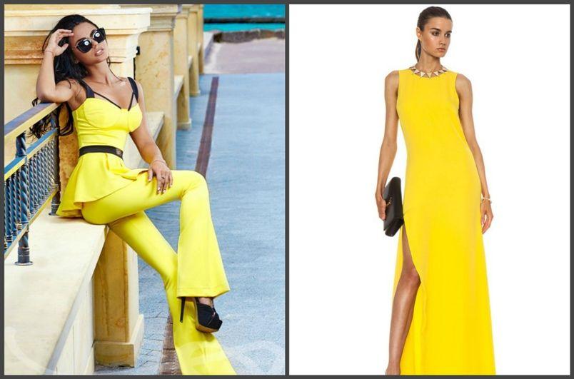 желтое женское платье