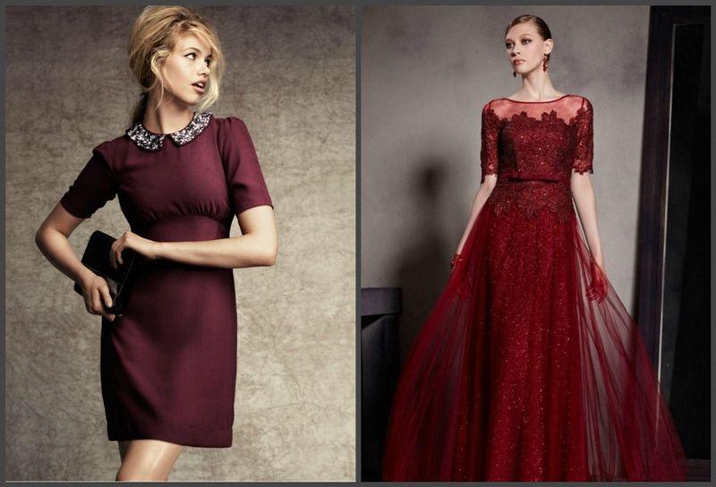 бордовое женское платье