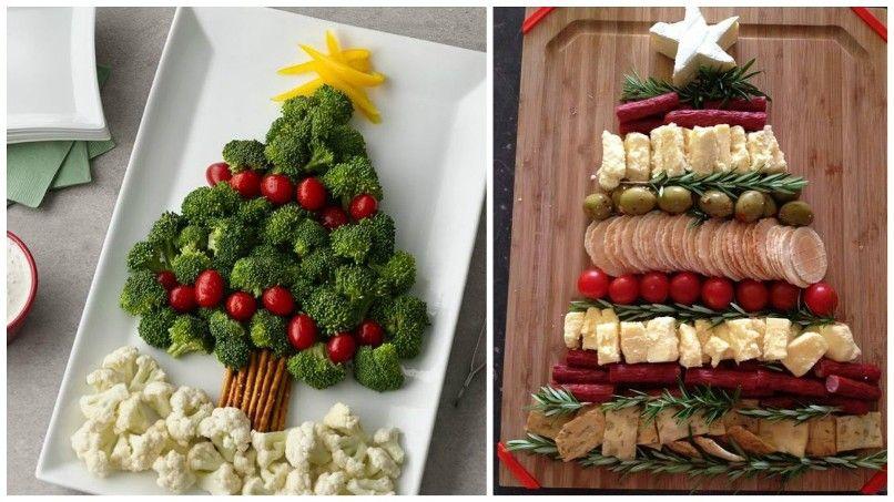 нарезка сыра и мяса в виде елочки