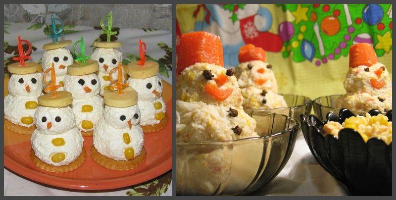 снеговики из сыра и салата белочка