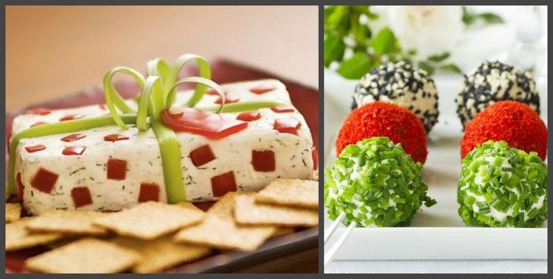 подарок и елочные шары из сыра и салата белочка